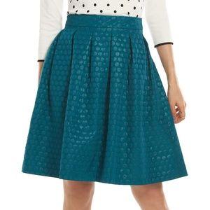 Elle High Waisted Pleated Polka Dot Skirt Teal 14